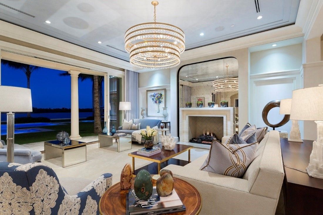 Luxury Living Room With Chandelier And Ocean View