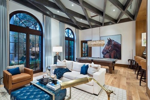 Luxury Modern Game Room With Large Horse Painting