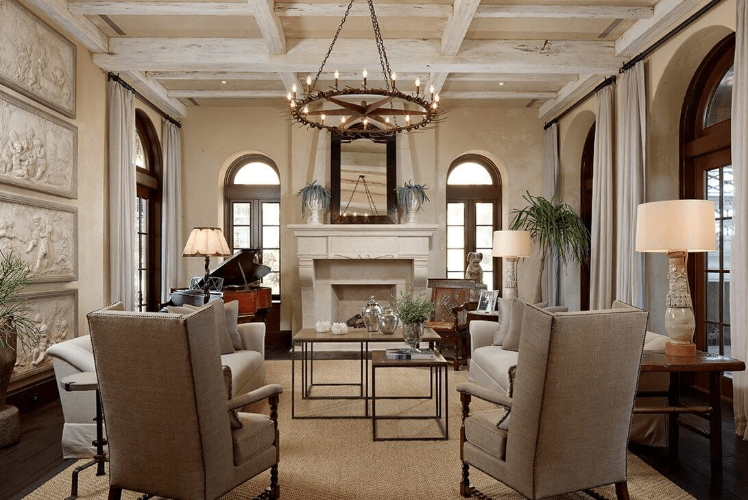 A Traditional Tuscan Design Sitting Room With Natural Interior Design Accessories.