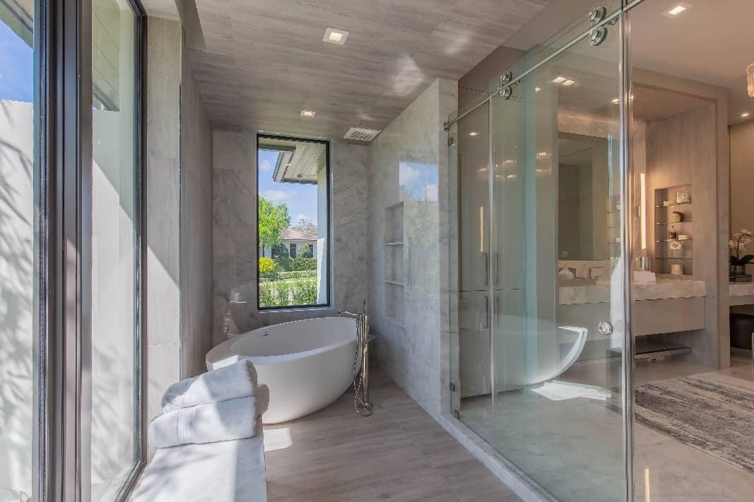 Luxury Bathroom With Marble Tiles.